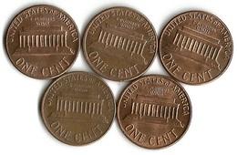Lot 5 Pièces De Monnaie    1 Cent - Émissions Fédérales