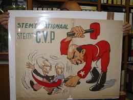 4 Oude Affiches Verkiezingen Anno 1946, CVP ANTI Socialistisch, Huysmans, Van Acker; Karikaturen Jef Nys Of MArc Sleen ? - Books, Magazines, Comics