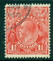 Australia KGV Head 1½d Red Small Multi Wmk Perf 13.5x12.5  CTO Lot25016 - Used Stamps