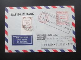 Irak / Iraq 1967 Air Mail / Luftpost Rafidan Bank. Roter Freistempel Baghdad. Marke Als Randstück / Oberrand - Iraq
