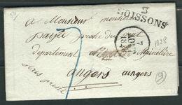 FRANCE 1828 Marque Postale Taxée De Soissons - Marcophilie (Lettres)
