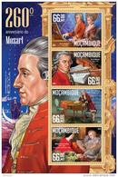 MOZAMBIQUE 2016 - W.A. Mozart, Masonry - YT 7026-9, Mi 8489-92 - Franc-Maçonnerie