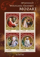 SIERRA LEONE 2016 - W. A. Mozart, Masonry - YT 5765-8 - Franc-Maçonnerie