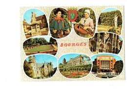 Cpsm - Bourges - Multivues Folklore Joueur Vielle Musique Berry - Voiture DS Citroën - Bourges
