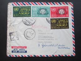 Ägypten / UAR 1964 Air Mail / Luftpost Mit 9 Marken / Schöne Frankatur Und Interessante Stempel!! Zensur - Covers & Documents