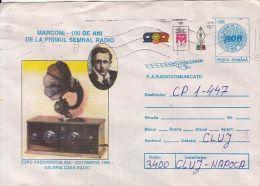 73194- MARCONI, FIRST RADIO SIGNAL, TELECOM, SCIENCE, COVER STATIONERY, 1996, ROMANIA - Telecom