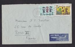 Vietnam: Airmail Cover To France, 1971, 2 Stamps, Sent To J.P Sartre, Philosopher, Author, Nobel Winner (minor Creases) - Vietnam