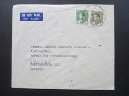 Irak / Iraq 1936 Air Mail / Luftpost Ashar Basra - Apolda August Schroer Fabrik Für Strickkleidung - Irak