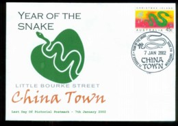 Christmas Is 2002 New Year Of The Snake, Last Day Chinatown Melbourne, Alpha FDC Lot80259 - Christmas Island