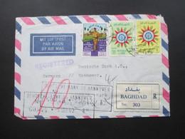 Irak / Iraq 1962 Luftpost / Air Mail Registered Letter / Einschreiben Baghdad No 303 Dreieckstempel Rückseitig - Iraq