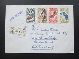 Libanon 1966 Luftpost / Par Avion Einschreiben R - 401 Motivmarken Schmetterlinge Und Vögel - Libanon