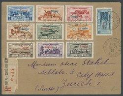 TANGER 19-28 BRIEF, 1929, Flugpost-Ausgabe Überschwemmungsopfer Auf Einschreibbrief Von TANGER-CHERIFIEN Nach Zürich, Ma - Marokko (1891-1956)