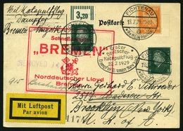 KATAPULTPOST 1a BRIEF, 22.7.1929, &quot,Bremen&quot, - New York, Landpostaufgabe, Prachtkarte - Deutschland