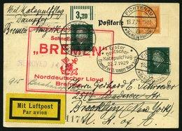KATAPULTPOST 1a BRIEF, 22.7.1929, &quot,Bremen&quot, - New York, Landpostaufgabe, Prachtkarte - Duitsland