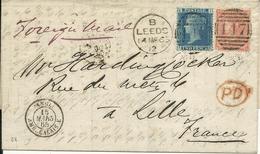 - Lettre D'ANGLETERRE Pour LILLE Avec Cachet Entrée Ambulant CALAIS -E  -  1865 - 1849-1876: Classic Period