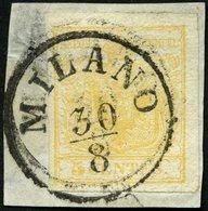 LOMBARDEI UND VENETIEN 1Xa BrfStk, 1850, 5 C. Ockergelb, Handpapier, K1 MILANO, Fotobefund Dr. Ferchenbauer - 1850-1918 Keizerrijk