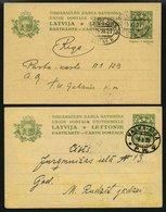 LETTLAND P 3 BRIEF, 1927/8, 6 S. Grün, 2 Karten Mit Bahnpoststempeln VALKA-RIGA Und RITUPE-RIGA, Pracht - Letland