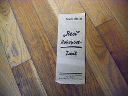 """Allemagne Document Publicitaire TARIFS """" RESI """"  ? 1935/36 - Germany"""