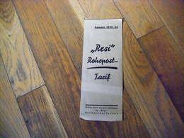"Allemagne Document Publicitaire TARIFS "" RESI ""  ? 1935/36 - 1900 – 1949"