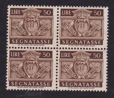 1945 San Marino Saint Marin SEGNATASSE  50 Lire In Quartina MNH** Postage Due Bl.4 Gomma Leggermente Bicolore - Segnatasse