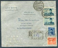 1946 Egypt Registered Airmail Cover Swiss House Maadi - Zurich Switzerland - Egypt