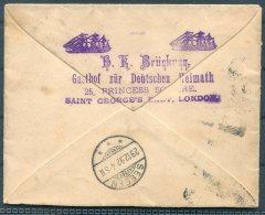 1892 GB Cover German Inn, Gasthof Zur Deutschen Heimath, Princess Square, London - Germany. Sailing Ship - Storia Postale