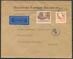 1941 Sweden Censor Airmail Cover Dalsjofors - Dusseldorf Germany. Bible Jubilee 15ore - Sweden