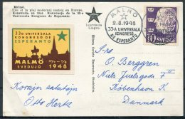 1948 Sweden Malmo Teatro Postcard - Copenhagen. Esperanto Congress - Sweden