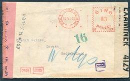 1944 Eire Censor Cover Bank Of Ireland - Credit Suisse, Zurich Switzerland - 1937-1949 Éire