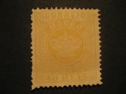 40 Reis Jaune MACAU 1885 Yvert 19 (Perf. 12 1/2 Cat Year 2008: 40 Eur) Mark Sign On Back Stamp Macao Portugal China Area - Unused Stamps