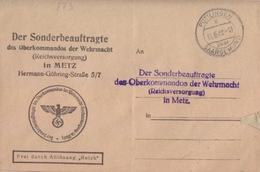 Lettre Préimprimée De Puttelange (T 333 Püttlingen B über Saargemund) En Franchise Le 11/6/42 Pour Metz - Marcophilie (Lettres)