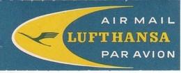 ANTIGUA ETIQUETA DE LA COMPAÑIA AEREA LUFTHANSA (AVION-PLANE) AIR MAIL - Etiquetas De Equipaje