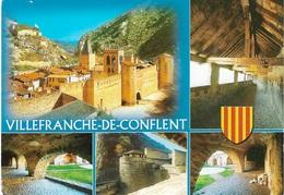 66 - Villefranche-de-Conflent - Multi Vues 5 - 1 Timbre Philatélique Au Verso, Voir Scan - Cpm - écrite - - Francia