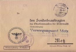 Lettre Préimprimée De Puttelange (T 333 Püttlingen C über Saargemund) En Franchise Le 17/8/43 Pour Metz - Marcophilie (Lettres)