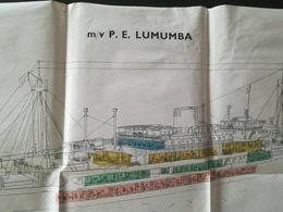 M/v P. E. LUMUMBA  ZAÏRE CONGO  PLAN DU BATEAU  +  MENU AVEC IMAGE BATEAU RED STAR LINE  LOT 2 VIEUX PAPIERS TRANSPORTS - Planches & Plans Techniques