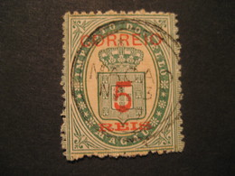 FISCAL 5 Reis MACAU 1887 Yvert 29 (cancel Cat. Year 2008: 10 Eur) Stamp Macao Portugal China Area Fiscaux - Macao
