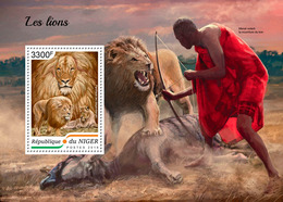 NIGER 2018 - Lions, Archery S/S. Official Issue - Tiro Al Arco