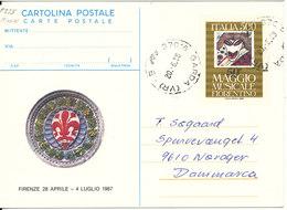 Italy Cartolina Postale Postal Stationery Postcard Sent To Denmark Garda 20-6-1987 - Stamped Stationery