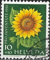 SWITZERLAND 1961 Children's Fund - 10c.+10c Sunflower FU - Pro Juventute