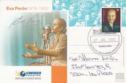 EVA PERON 1919-1952. POSTAL STATIONERY ENTIER CIRCULEE 2002 TO LA PLATA, ARGENTINE FDC- BLEUP - Enteros Postales