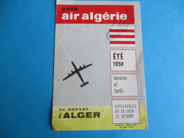 Dépliant Commercial à 3 Volets / AIR ALGERIE/Horaires Et Tarifs / Au Départ D'ALGER /Eté 1958         VPN147 - Transports
