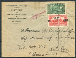 Algeria Algers University, Institut De Meteorologie Cover - Department Of Algriculture, Salisbury Rhodesia - Lettres & Documents