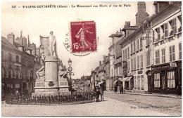 02 VILLERS-COTTERETS - Le Monument Aux Morts Et Rue De Paris - Villers Cotterets