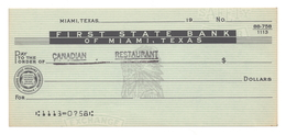 First State Bank, Miami, Texas, Unused Check [#4293] - Cheques & Traveler's Cheques