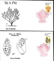 J) 1988 MEXICO, FLORA OF MEXICO, HUITLACOCHE, CORN, SKIN TREE, SET OF 2 FDC - Mexico