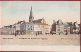 Sint-Niklaas Saint-Nicolas Grand' Place Et Marché Aux Légumes - Ingekleurd (In Zeer Goede Staat) Waasland - Sint-Niklaas