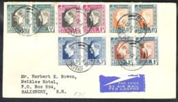 SOUTH AFRICA Coronation 1937 Yvert 78/87 On FDC From JOHANNESBURG To SALISBURY (South Rhodesia) - Zuid-Afrika (...-1961)