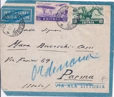 ERYTHREE - LETTRE PAR AVION DESSIE POUR PARME ITALIE 1939 - Eritrea