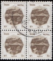 NEPAL- Scott #445 Pashupati Temple (*) / Used Block Of 4 Stamps (bk1108) - Nepal