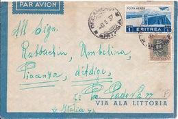 ERYTHREE - LETTRE PAR AVION POUR PADOVA PADOUE ITALIE 1937 - Eritrea